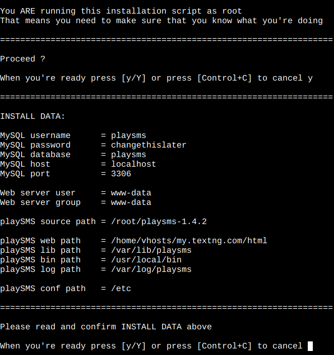 playSMS install script confirmation